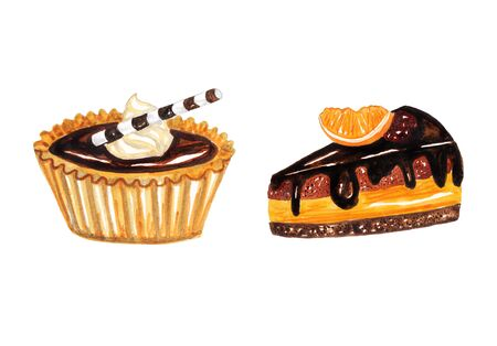 orange cake: Sweets. Chocolate tartlet and a piece of orange cake