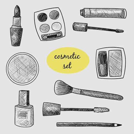 lip gloss: Cosmetic set. Lipstick, mascara, eye shadow, powder, blush, lip gloss, nail polish. Vector black and white illustration. Sketch