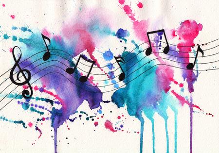 Watercolor notities. Muziek symbolen op abstracte aquarel gestructureerde achtergrond Stockfoto