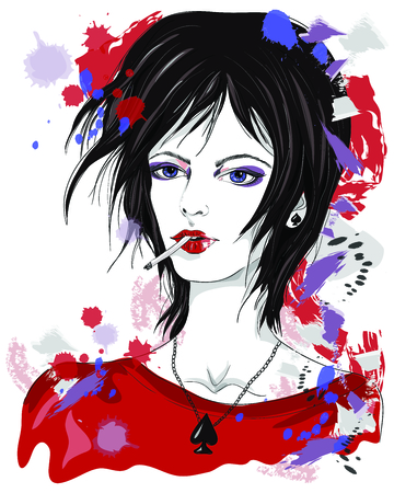 black hair blue eyes: The Queen of Spades. Girl with a cigarette. Fashion illustration on abstract background. Print for T-shirt