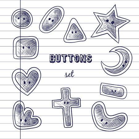 handdrawn: Buttons set. Hand-drawn illustration on notebook background. Sketch Illustration
