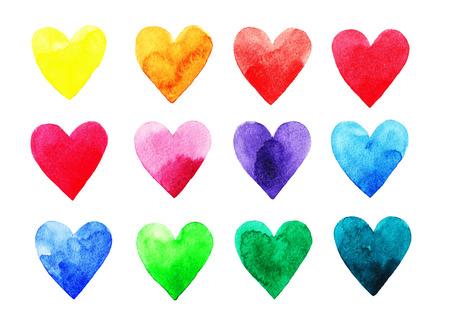 blue watercolor: Watercolor rainbow hearts