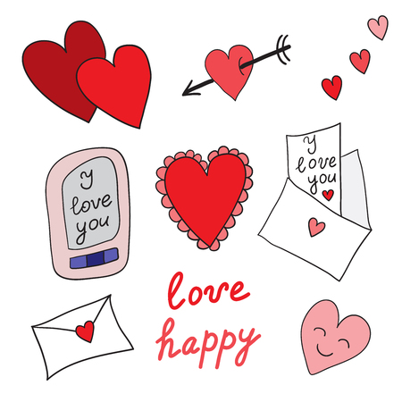 cartoons sweet: Set of love icons. Hearts and love letters on white background Illustration