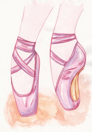 DAnce background: Pointe shoes on watercolor textured background. Watercolor hand-drawn illustration