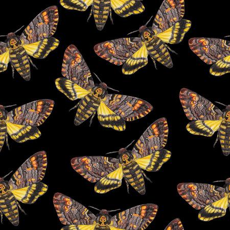 gothic background: Deaths-head moth seamless pattern. Gothic background