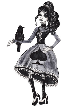 sullen: Gothic girl with a crow. Watercolor illustration on white isolated background