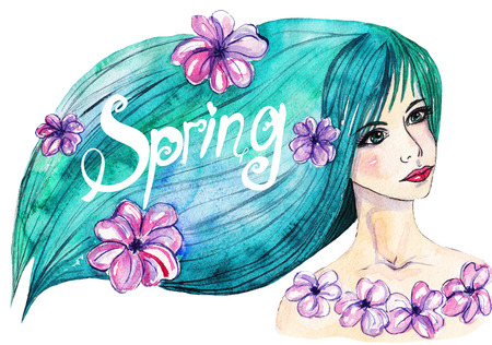 green hair: Watercolor portrait of a girl with green hair and the word spring