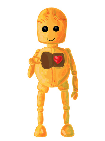 funny robot: Cute and funny robot opens his heart