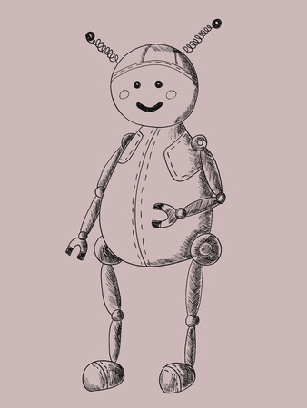Cute and funny robot. Hand-drawn sketch illustration