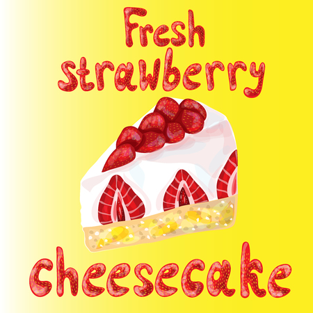 cheesecake: A piece of a strawberry cheesecake on yellow background