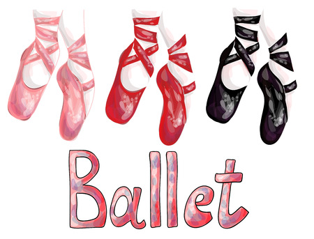 performance art: Red, pink and black ballet pointe shoes on white background Illustration