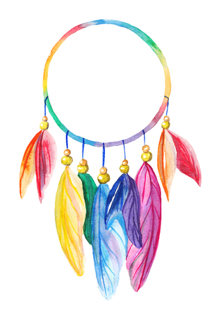 Rainbow watercolor dreamcatcher on white isolated background