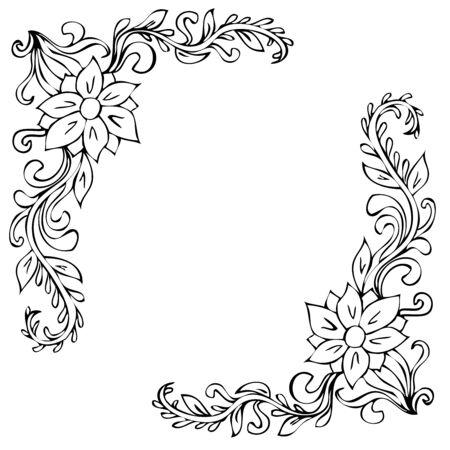 Zwarte hoek florale ornamenten op een witte achtergrond Vector Illustratie
