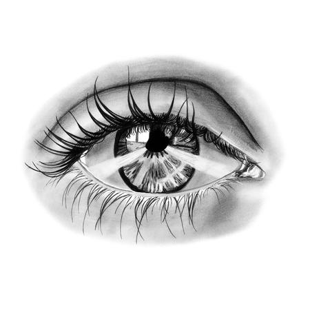 black eye: Realistic female eye. Pencil black and white illustration Stock Photo