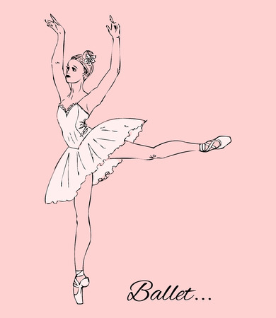 ballerina shoes: Ballerina in white tutu and pointe shoes on a pink background