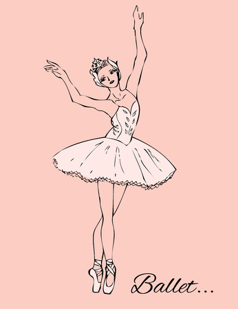 tutu: Ballerina in white tutu and pointe shoes on a pink background