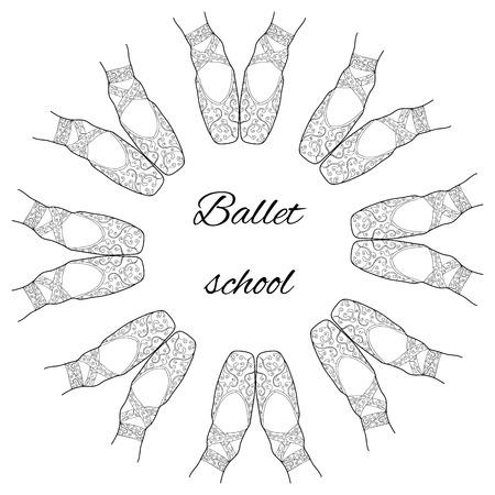 Círculo de zapatillas de punta de ballet con el ornamento y el lugar de texto. Ejemplo blanco y negro. Modelo para el diseño de la escuela de ballet