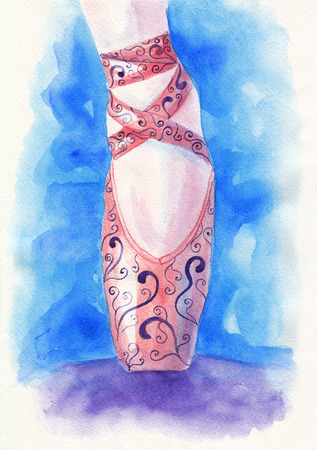 purple shoes: Pink ballet pointe shoes decorated with purple ornaments. Watercolor illustration Stock Photo