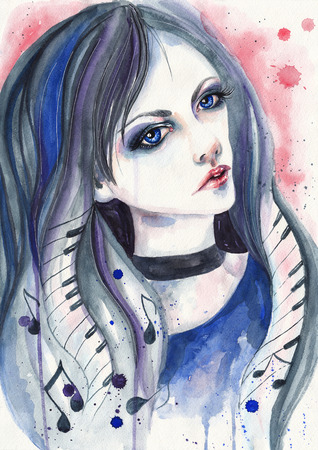 beautiful sad: Watercolor portrait of a girl with notes and piano keys in her hair. Portrait of a girl who loves music