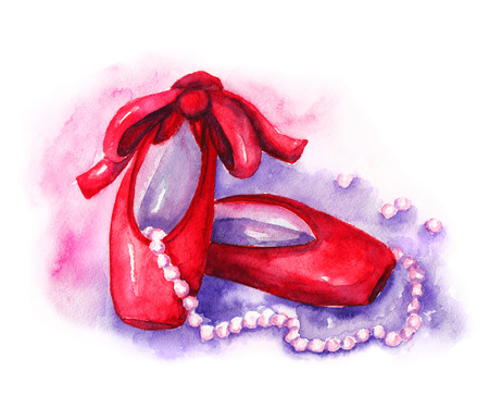 burgundy ribbon: Red pointe shoes with pink beads. Watercolor illustration on white background