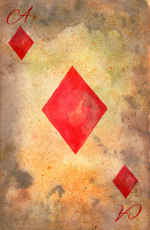 ace of diamonds: Ace of Diamonds. Template of playing card. Vintage playing card. Watercolor illustration