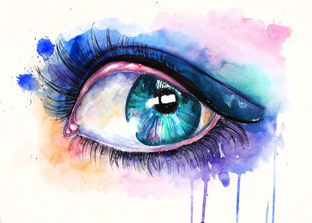 emerald: Emerald green realistic eye. Watercolor illustration on textured paper