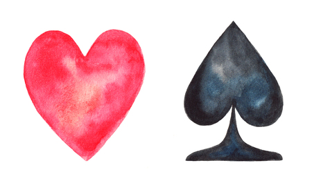 spades: Hearts and Spades. Watercolor illustration on white background Stock Photo