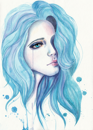 niña llora con el pelo azul. Ilustración de la acuarela sobre papel con textura