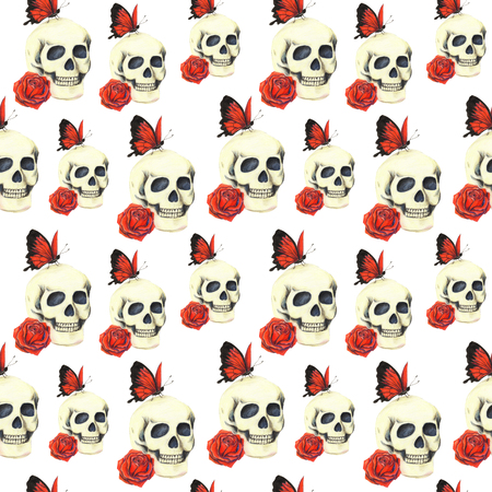 regeneration: Pattern with skull, red rose and red butterfly on white background