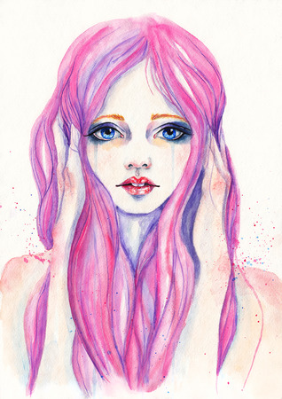 single eyed: Portrait of crying girl with pink hair. Watercolor illustration