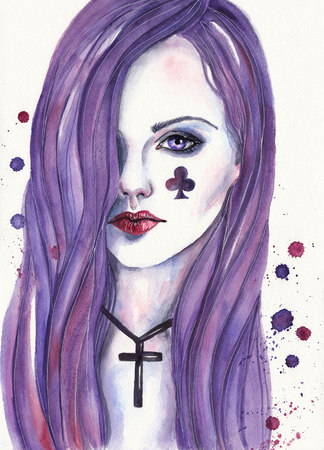 queen of clubs: Queen of Clubs. Watercolor illustration on textured paper