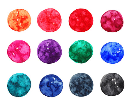 celadon blue: Set of colorful watercolor circles on white background. Template for design Stock Photo