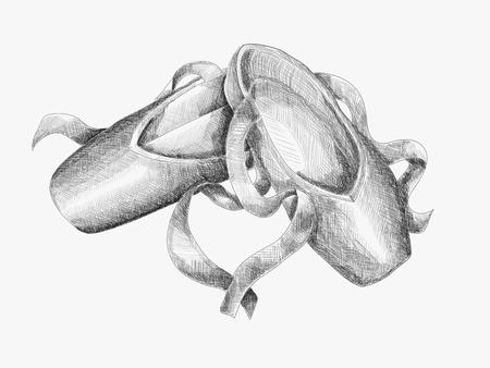 pointes: Pointes. Black and white sketch illustration. Tattoo