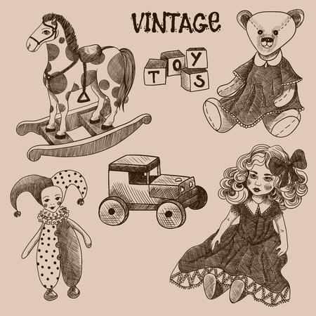 rocking: Set of vintage toys. Doll, cubes, jester, teddy bear, wooden car, rocking horse