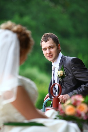 wail: Bride and groom on swing Stock Photo
