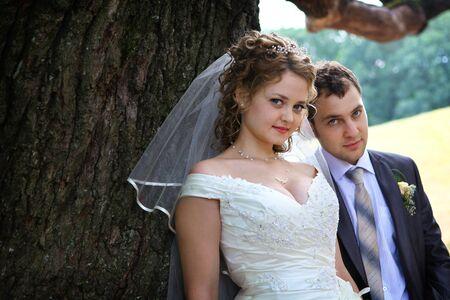 wail: Bride and groom near oak in park Stock Photo