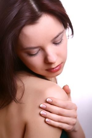 Young woman with french manicure photo