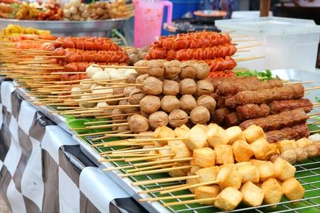Meatballs on sticks at a market in Phuket, Thailand  Banco de Imagens