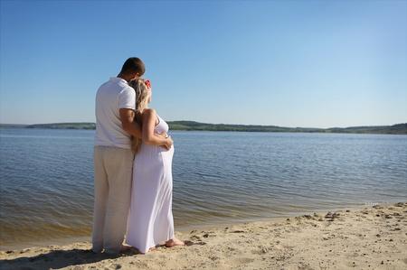 homme enceinte: Famille enceinte Banque d'images