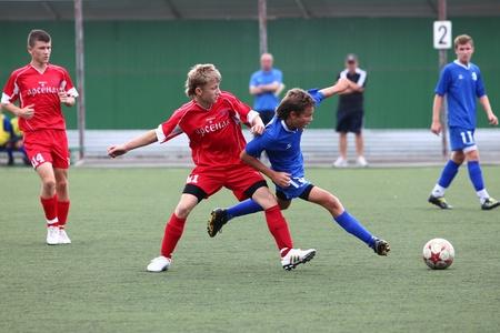 Belgorod, Russland - 20. August identifiziert Jungs spielt Fußball am August 20 2010 in Belgorod, Russland Das Finale der Chernozemje Überlegenheit, Fußball kinder-Team des Jahres 1996 das Geburtsjahr Standard-Bild - 13538073