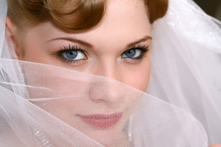 Young beautiful bride with red hair Stock Photo