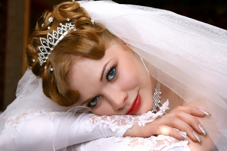bridal hair: Young beautiful bride with red hair Stock Photo
