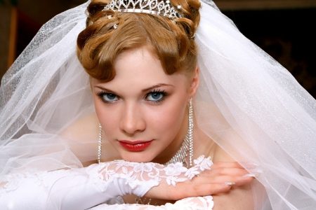organza: Young beautiful bride with red hair Stock Photo