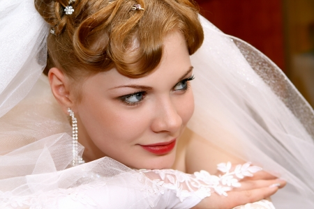 Beautiful bride with red hair photo