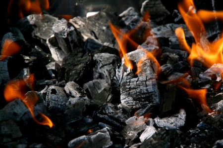 Fire in burning charcoal Stock Photo