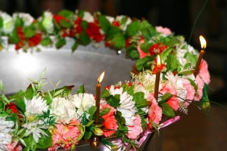 Bowl with cross for christening ceremony in church