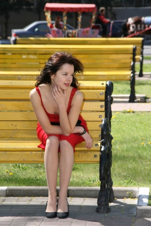 Lady on the bench photo