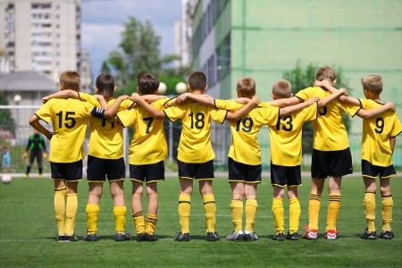 sports form: Fotball squadra durante la pena di