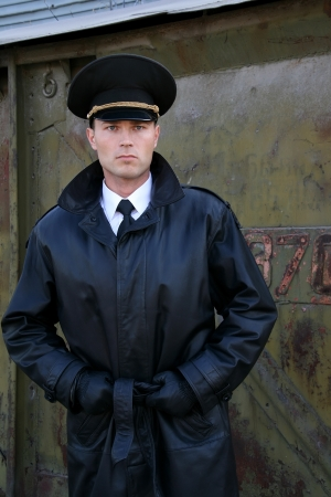 Military man near a wagon Stock Photo
