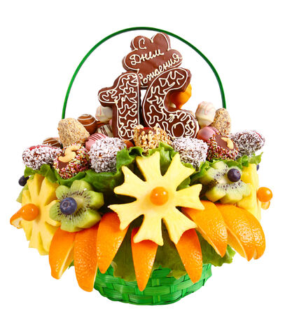 Fruit bouquet with orange, pineapple, kiwi and chocolate photo